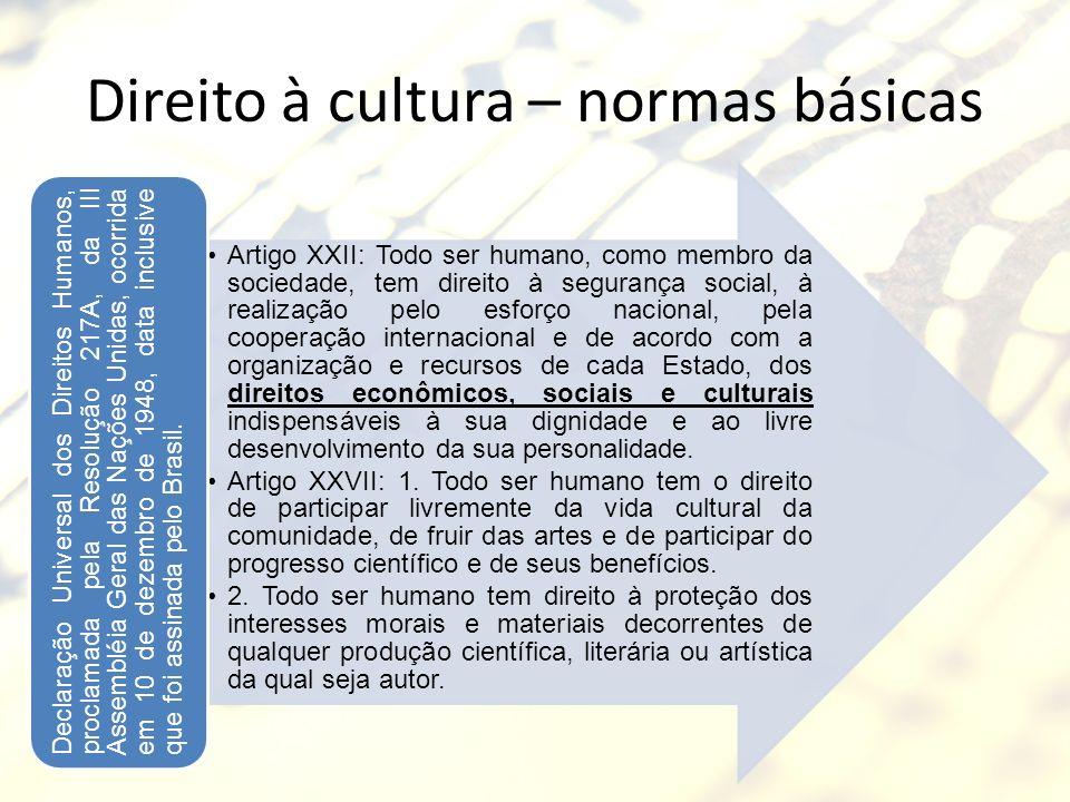Direito à cultura – normas básicas Artigo XXII: Todo ser humano, como membro da sociedade, tem direito à segurança social, à realização pelo esforço n
