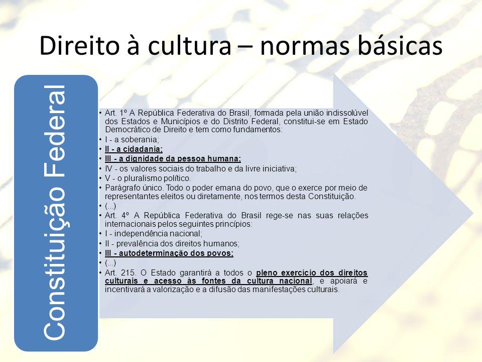 Direito à cultura – normas básicas Art. 1º A República Federativa do Brasil, formada pela união indissolúvel dos Estados e Municípios e do Distrito Fe