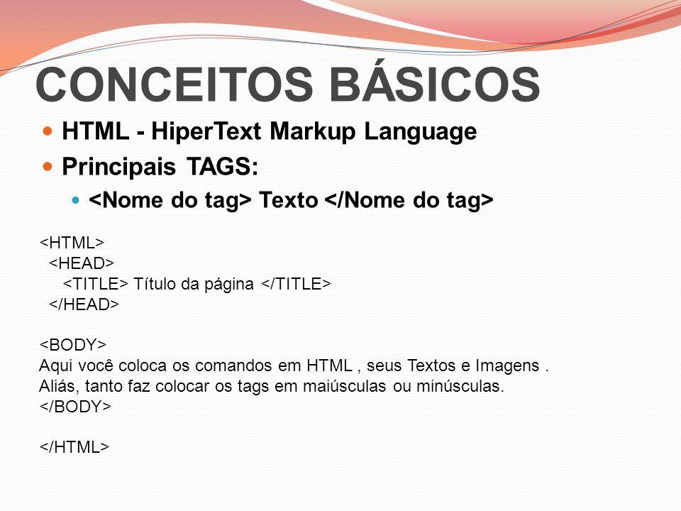 CONCEITOS BÁSICOS HTML - HiperText Markup Language Principais TAGS: Texto Título da página Aqui você coloca os comandos em HTML, seus Textos e Imagens.