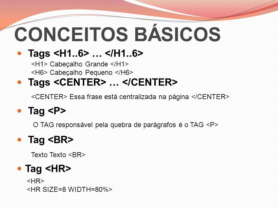 CONCEITOS BÁSICOS Tags … Tag Cabeçalho Grande Cabeçalho Pequeno Essa frase está centralizada na página O TAG responsável pela quebra de parágrafos é o TAG Texto Texto
