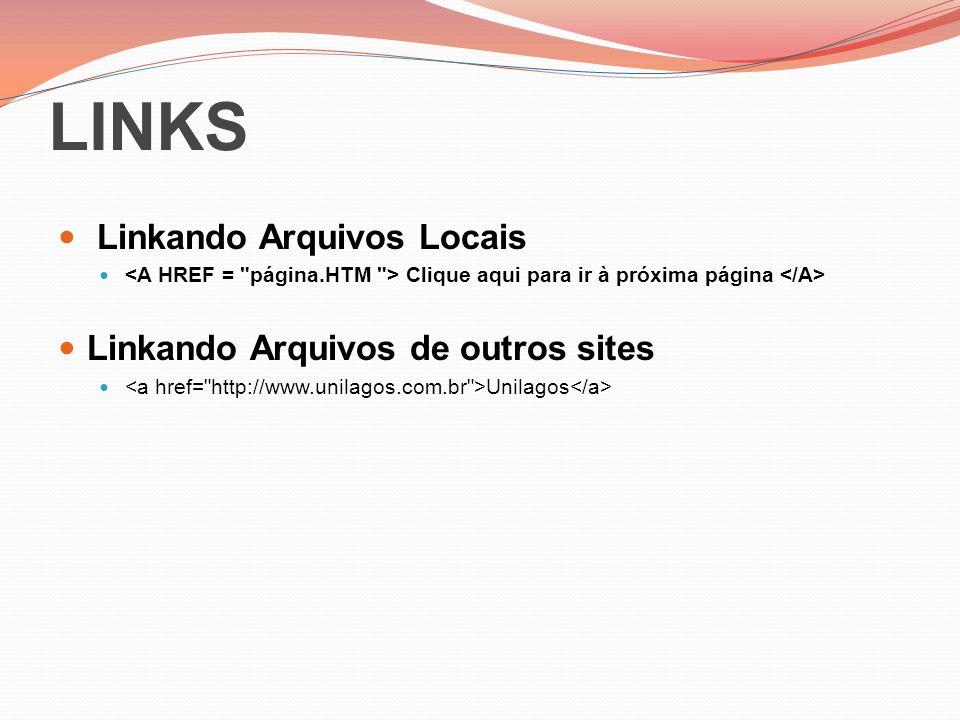 LINKS Linkando Arquivos Locais Clique aqui para ir à próxima página Linkando Arquivos de outros sites Unilagos
