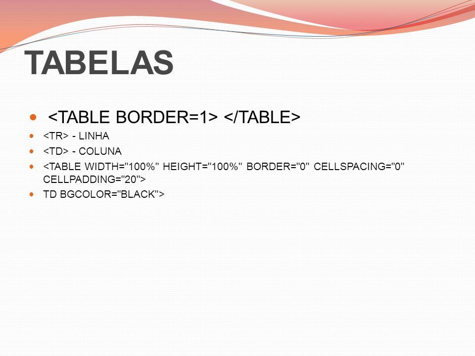 TABELAS - LINHA - COLUNA TD BGCOLOR= BLACK >