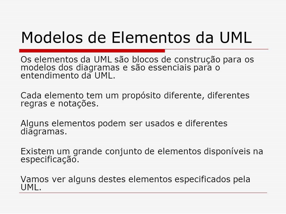 Modelos de Elementos da UML Os elementos da UML são blocos de construção para os modelos dos diagramas e são essenciais para o entendimento da UML. Ca