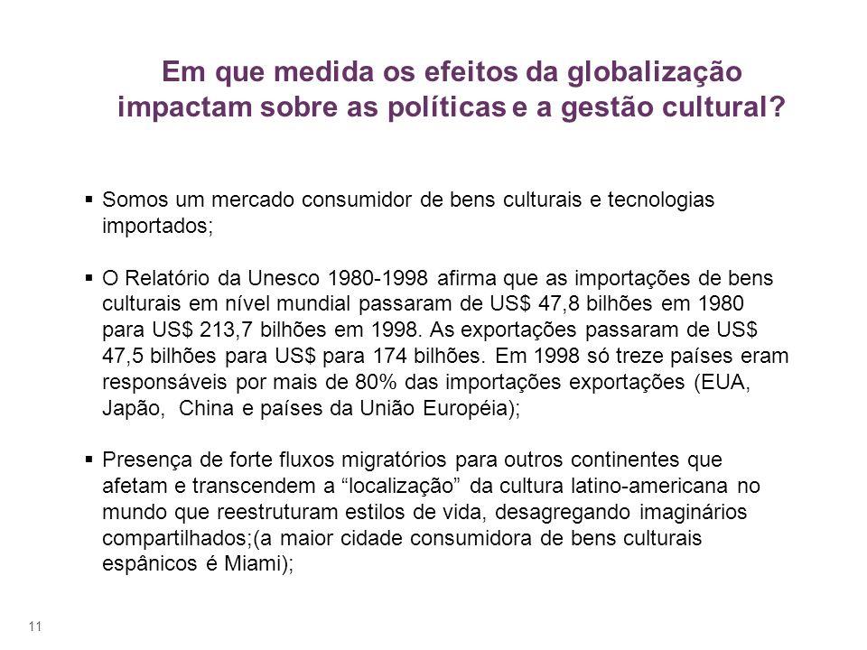 11 Somos um mercado consumidor de bens culturais e tecnologias importados; O Relatório da Unesco 1980-1998 afirma que as importações de bens culturais em nível mundial passaram de US$ 47,8 bilhões em 1980 para US$ 213,7 bilhões em 1998.