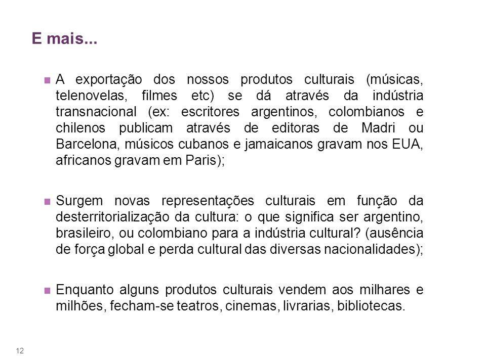 12 E mais... A exportação dos nossos produtos culturais (músicas, telenovelas, filmes etc) se dá através da indústria transnacional (ex: escritores ar