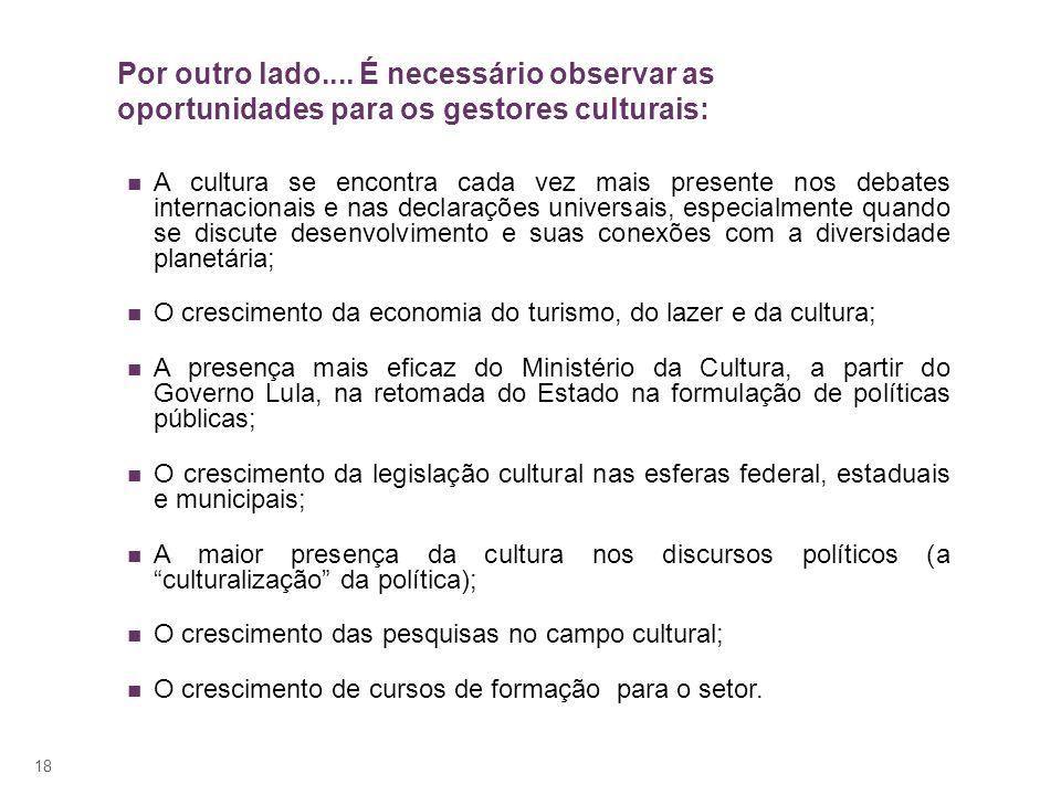 18 Por outro lado.... É necessário observar as oportunidades para os gestores culturais: A cultura se encontra cada vez mais presente nos debates inte