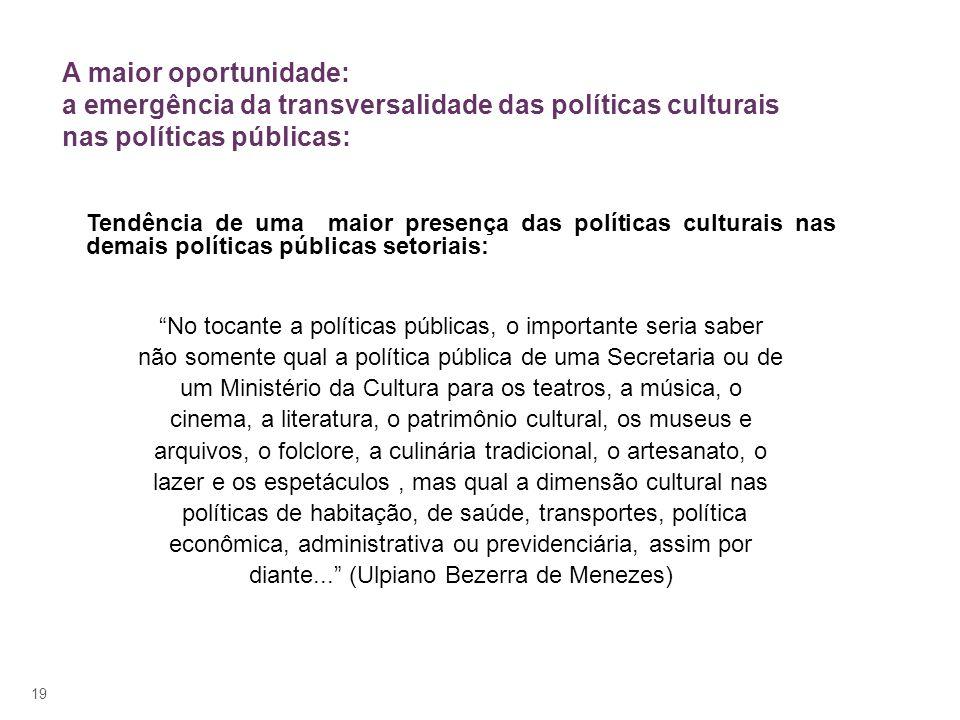 19 A maior oportunidade: a emergência da transversalidade das políticas culturais nas políticas públicas: Tendência de uma maior presença das política