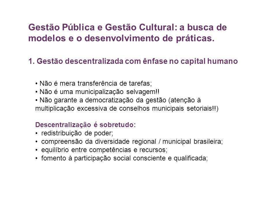 Gestão Pública e Gestão Cultural: a busca de modelos e o desenvolvimento de práticas. 1. Gestão descentralizada com ênfase no capital humano Não é mer