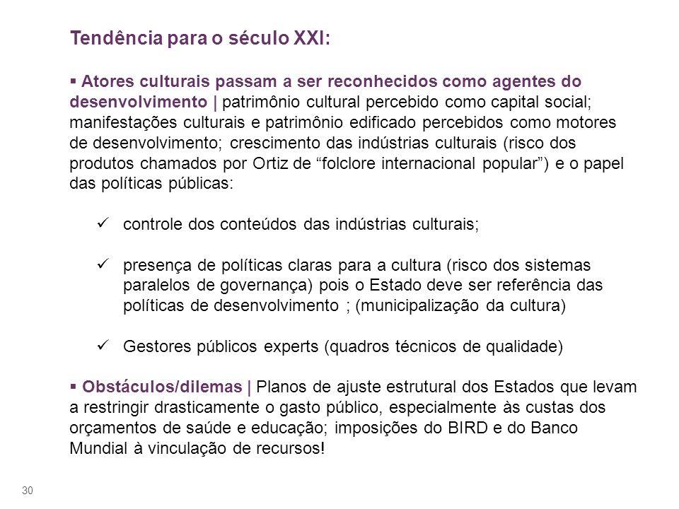 30 Tendência para o século XXI: Atores culturais passam a ser reconhecidos como agentes do desenvolvimento | patrimônio cultural percebido como capita