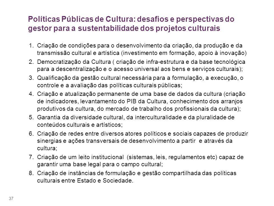 37 1.Criação de condições para o desenvolvimento da criação, da produção e da transmissão cultural e artística (investimento em formação, apoio à inov