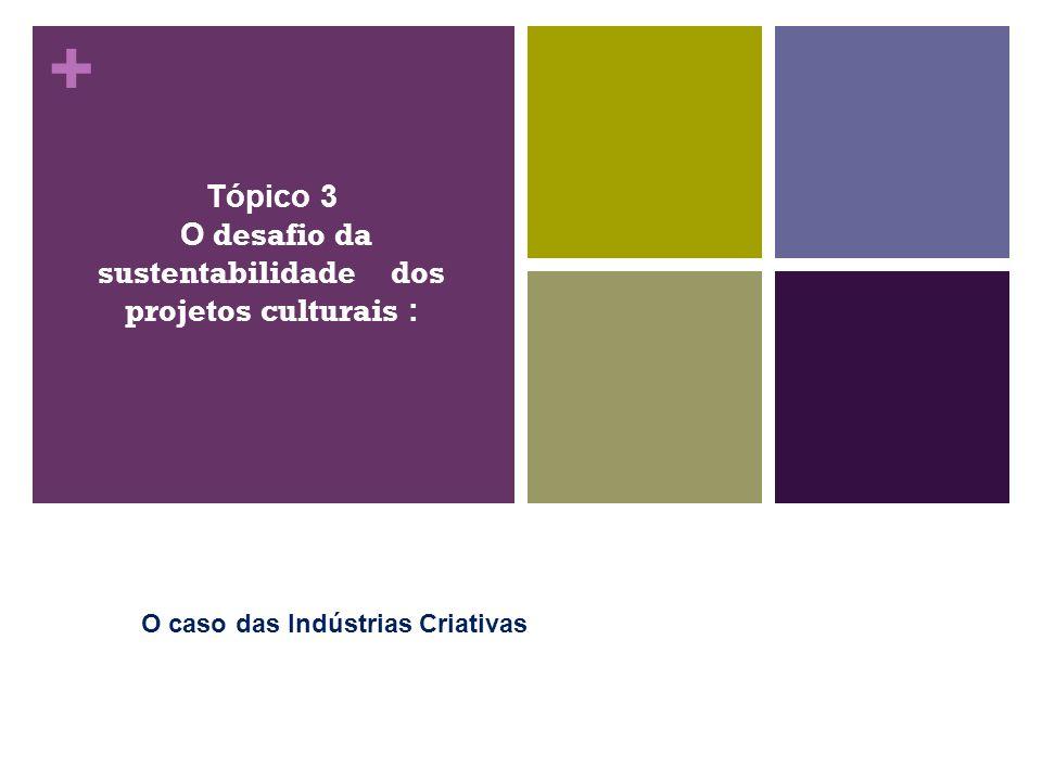 + Tópico 3 O desafio da sustentabilidade dos projetos culturais : O caso das Indústrias Criativas