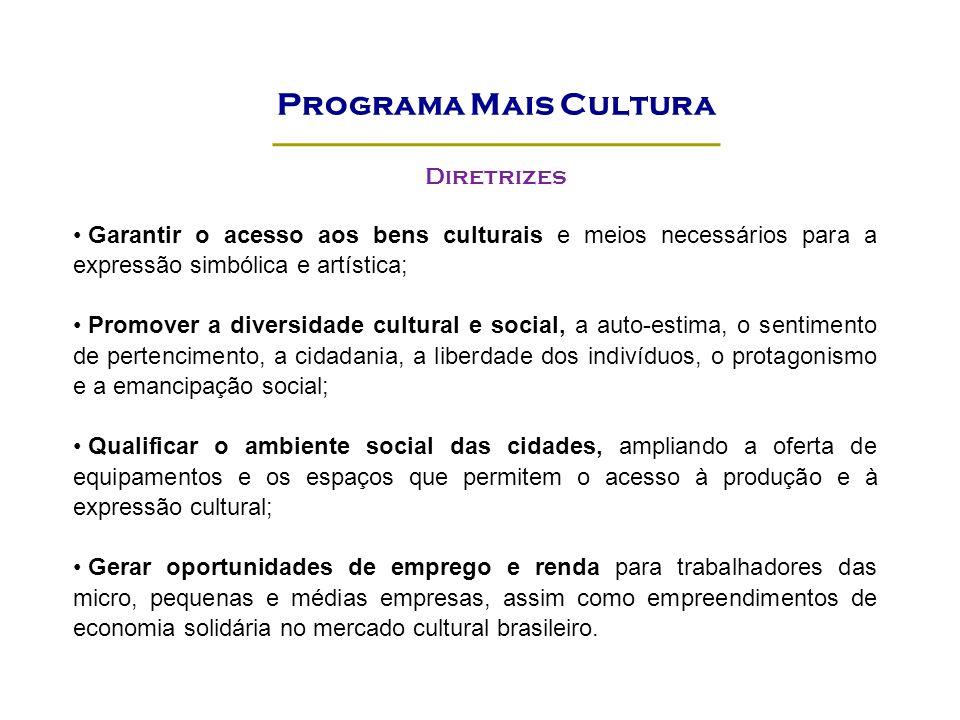 Garantir o acesso aos bens culturais e meios necessários para a expressão simbólica e artística; Promover a diversidade cultural e social, a auto-esti