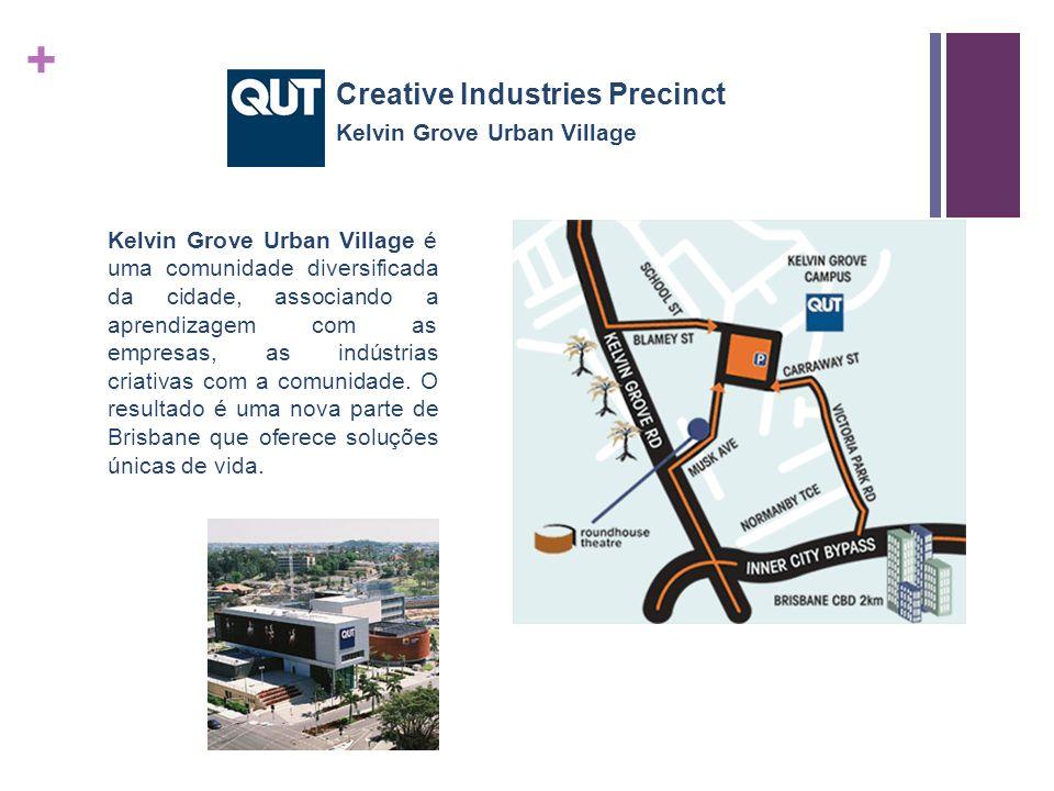 + Kelvin Grove Urban Village é uma comunidade diversificada da cidade, associando a aprendizagem com as empresas, as indústrias criativas com a comunidade.