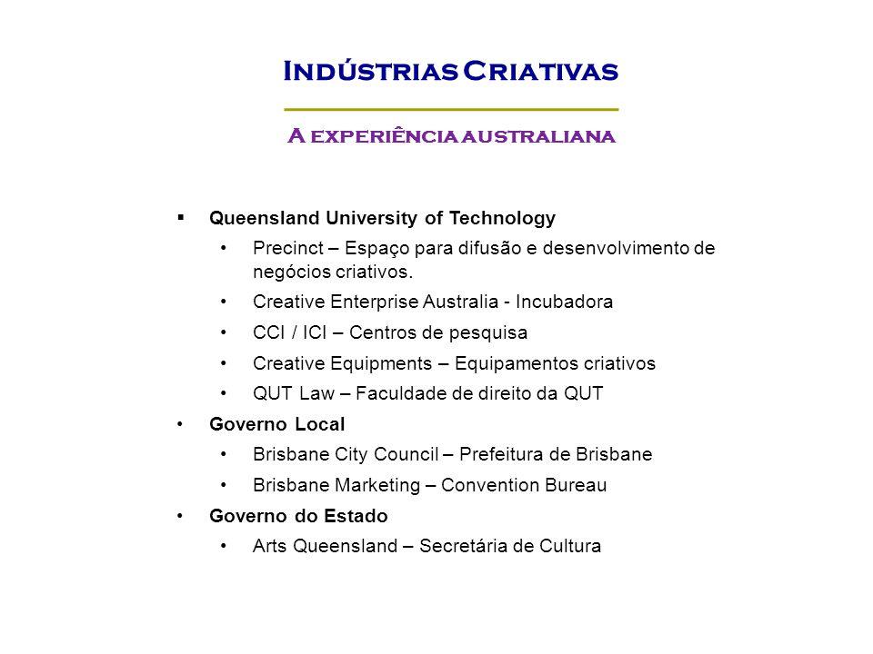 Queensland University of Technology Precinct – Espaço para difusão e desenvolvimento de negócios criativos. Creative Enterprise Australia - Incubadora