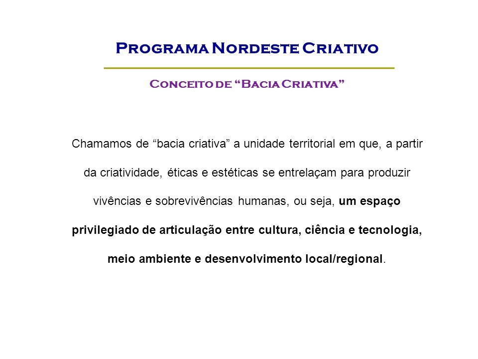 Conceito de Bacia Criativa Chamamos de bacia criativa a unidade territorial em que, a partir da criatividade, éticas e estéticas se entrelaçam para pr
