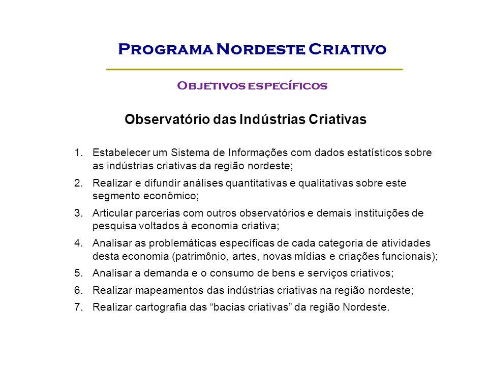 Observatório das Indústrias Criativas 1.Estabelecer um Sistema de Informações com dados estatísticos sobre as indústrias criativas da região nordeste;