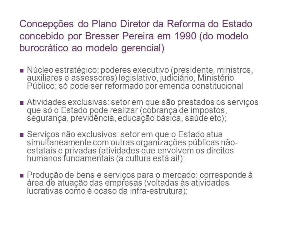 Concepções do Plano Diretor da Reforma do Estado concebido por Bresser Pereira em 1990 (do modelo burocrático ao modelo gerencial) Núcleo estratégico: