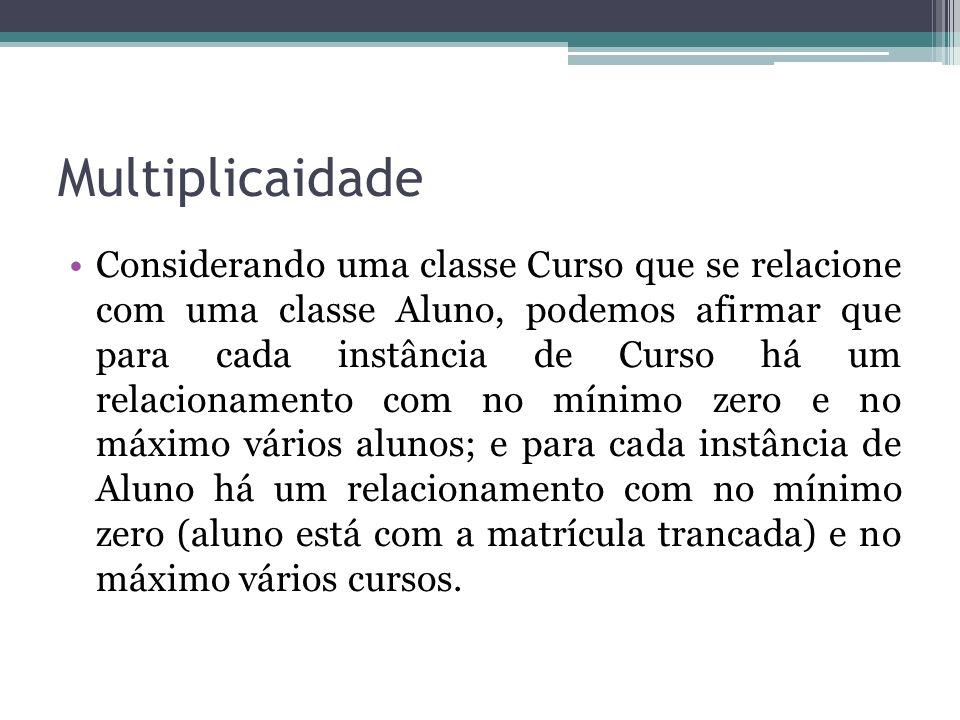 Multiplicaidade Considerando uma classe Curso que se relacione com uma classe Aluno, podemos afirmar que para cada instância de Curso há um relacionam