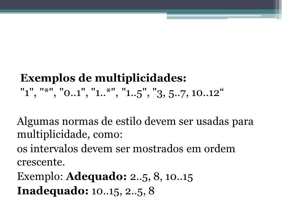 Exemplos de multiplicidades: