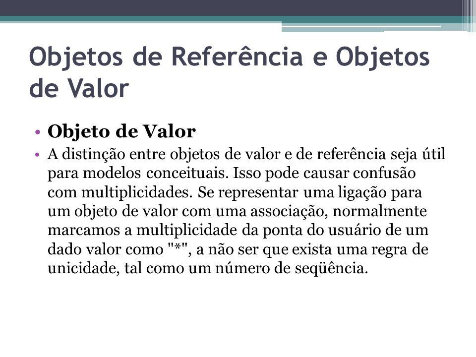 Objetos de Referência e Objetos de Valor Objeto de Valor A distinção entre objetos de valor e de referência seja útil para modelos conceituais. Isso p