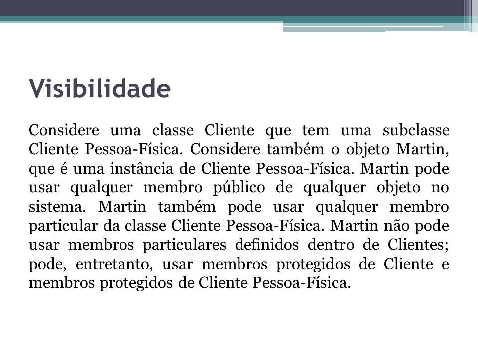 Visibilidade Considere uma classe Cliente que tem uma subclasse Cliente Pessoa-Física. Considere também o objeto Martin, que é uma instância de Client