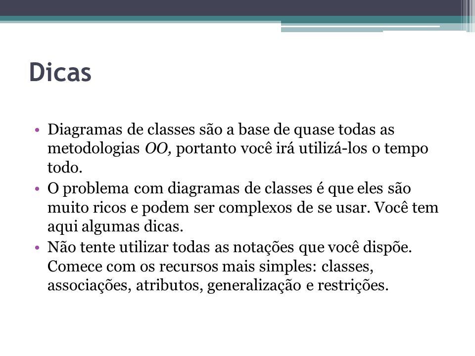 Dicas Diagramas de classes são a base de quase todas as metodologias OO, portanto você irá utilizá-los o tempo todo. O problema com diagramas de class