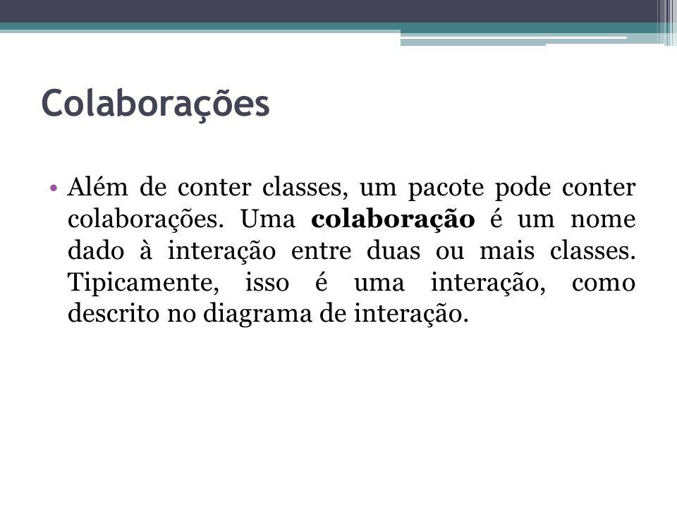 Colaborações Além de conter classes, um pacote pode conter colaborações. Uma colaboração é um nome dado à interação entre duas ou mais classes. Tipica