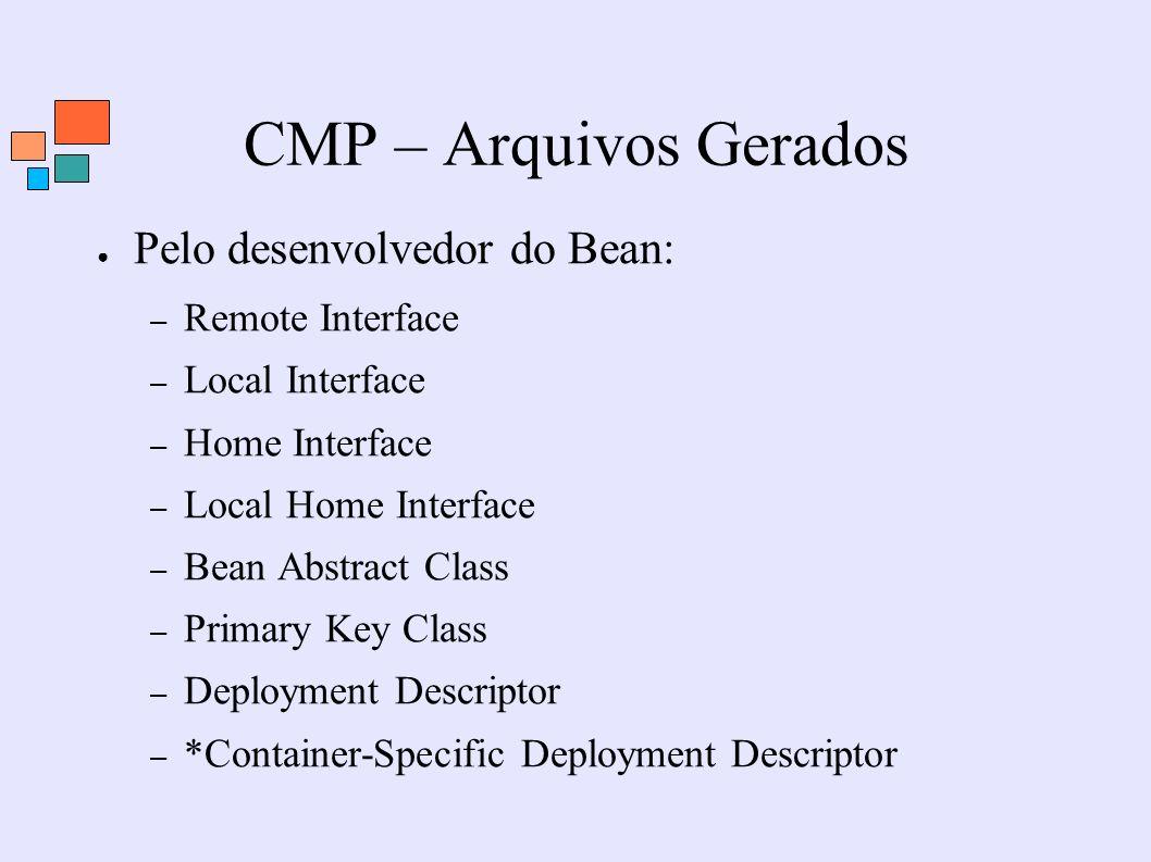CMP – Arquivos Gerados Pelo desenvolvedor do Bean: – Remote Interface – Local Interface – Home Interface – Local Home Interface – Bean Abstract Class