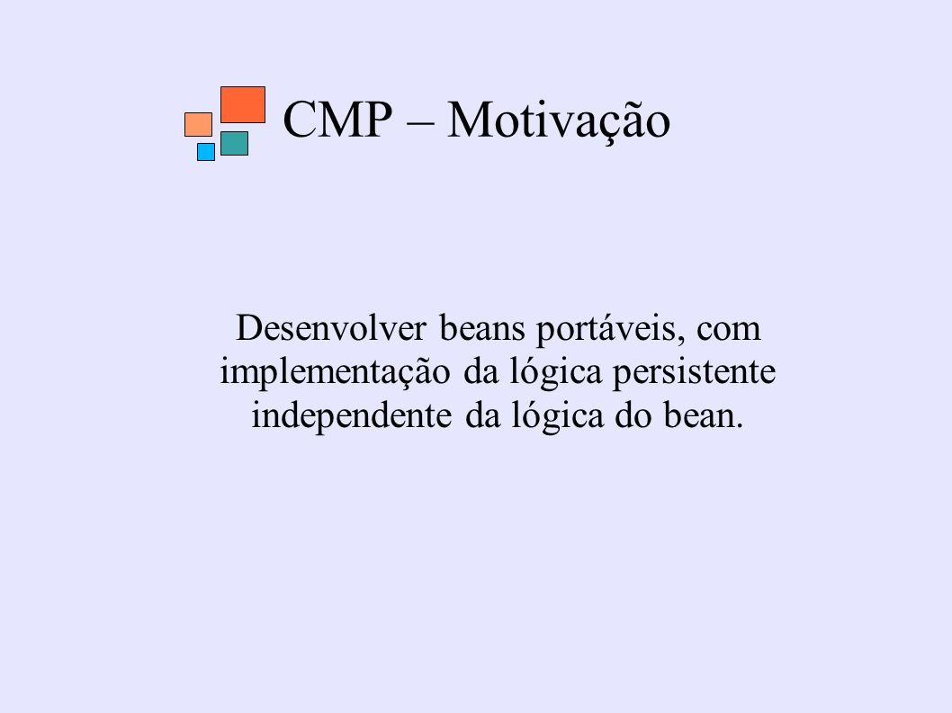 CMP – Motivação Desenvolver beans portáveis, com implementação da lógica persistente independente da lógica do bean.