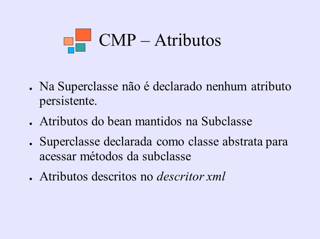 CMP – Atributos Na Superclasse não é declarado nenhum atributo persistente. Atributos do bean mantidos na Subclasse Superclasse declarada como classe
