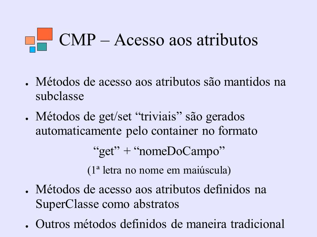 CMP – Acesso aos atributos Métodos de acesso aos atributos são mantidos na subclasse Métodos de get/set triviais são gerados automaticamente pelo cont