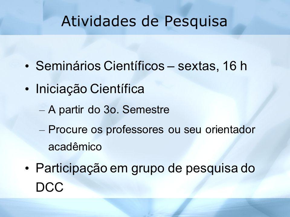 Atividades de Pesquisa Seminários Científicos – sextas, 16 h Iniciação Científica – A partir do 3o. Semestre – Procure os professores ou seu orientado