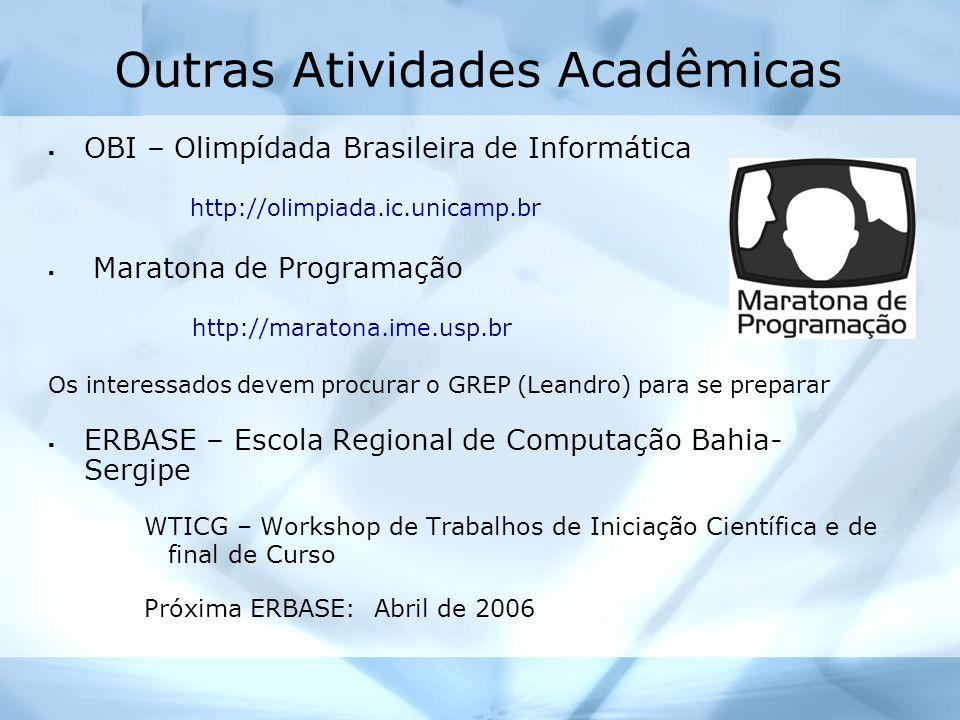 Outras Atividades Acadêmicas OBI – Olimpídada Brasileira de Informática http://olimpiada.ic.unicamp.br Maratona de Programação http://maratona.ime.usp