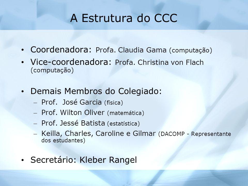 A Estrutura do CCC Coordenadora: Profa. Claudia Gama (computação) Vice-coordenadora: Profa. Christina von Flach (computação) Demais Membros do Colegia
