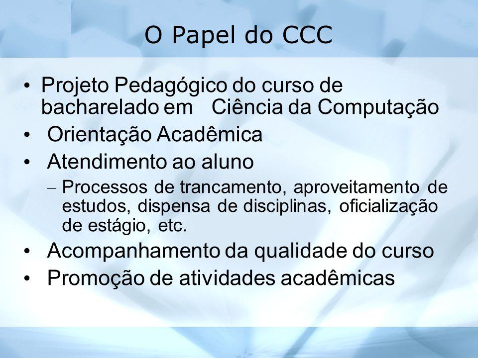 O Papel do CCC Projeto Pedagógico do curso de bacharelado em Ciência da Computação Orientação Acadêmica Atendimento ao aluno – Processos de trancament