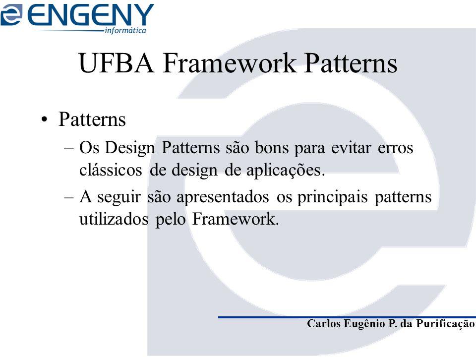 Carlos Eugênio P. da Purificação UFBA Framework Patterns Patterns –Os Design Patterns são bons para evitar erros clássicos de design de aplicações. –A
