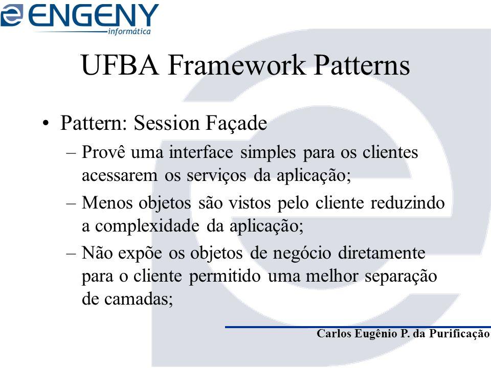 Carlos Eugênio P. da Purificação UFBA Framework Patterns Pattern: Session Façade –Provê uma interface simples para os clientes acessarem os serviços d