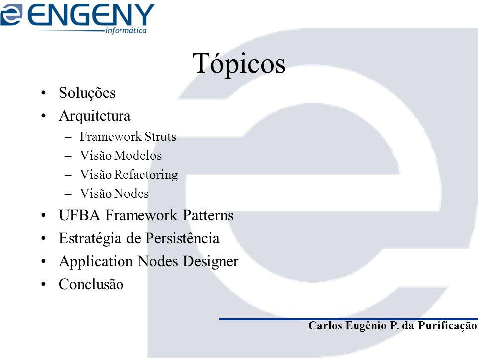 Carlos Eugênio P. da Purificação Tópicos Soluções Arquitetura –Framework Struts –Visão Modelos –Visão Refactoring –Visão Nodes UFBA Framework Patterns