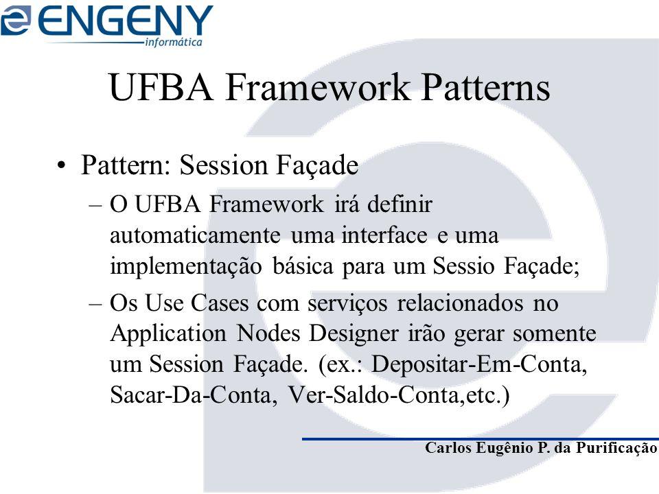 Carlos Eugênio P. da Purificação UFBA Framework Patterns Pattern: Session Façade –O UFBA Framework irá definir automaticamente uma interface e uma imp