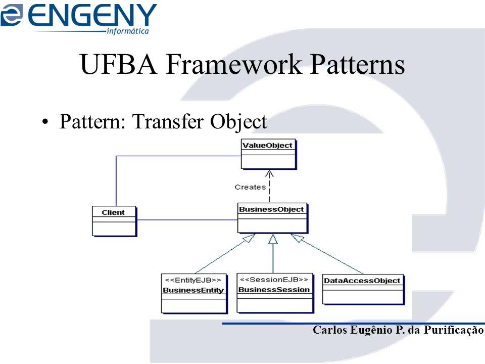 Carlos Eugênio P. da Purificação UFBA Framework Patterns Pattern: Transfer Object