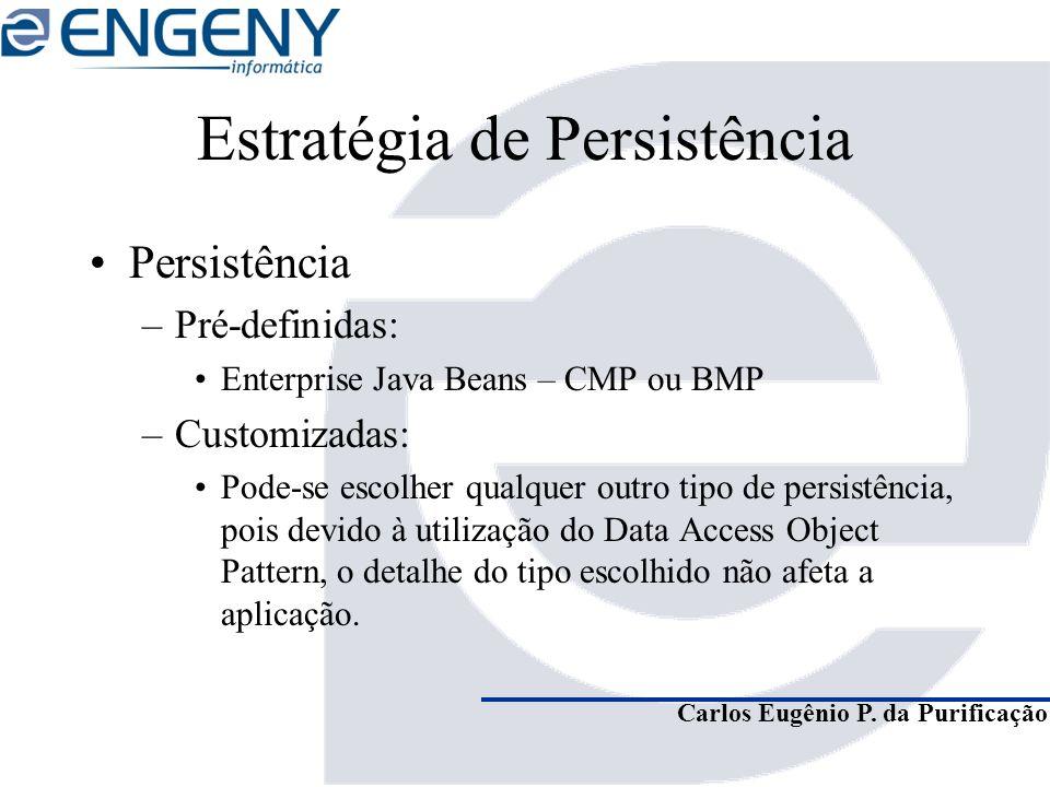 Carlos Eugênio P. da Purificação Estratégia de Persistência Persistência –Pré-definidas: Enterprise Java Beans – CMP ou BMP –Customizadas: Pode-se esc
