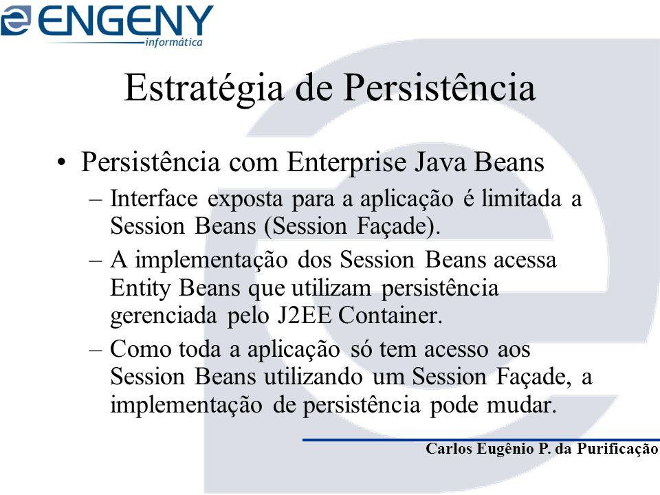 Carlos Eugênio P. da Purificação Estratégia de Persistência Persistência com Enterprise Java Beans –Interface exposta para a aplicação é limitada a Se