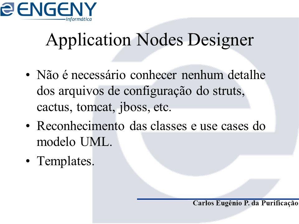 Carlos Eugênio P. da Purificação Application Nodes Designer Não é necessário conhecer nenhum detalhe dos arquivos de configuração do struts, cactus, t