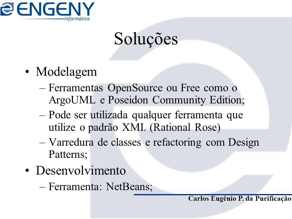 Carlos Eugênio P. da Purificação Soluções Modelagem –Ferramentas OpenSource ou Free como o ArgoUML e Poseidon Community Edition; –Pode ser utilizada q