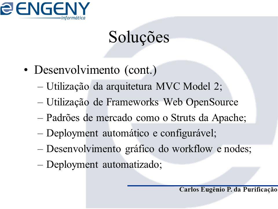 Carlos Eugênio P. da Purificação Soluções Desenvolvimento (cont.) –Utilização da arquitetura MVC Model 2; –Utilização de Frameworks Web OpenSource –Pa