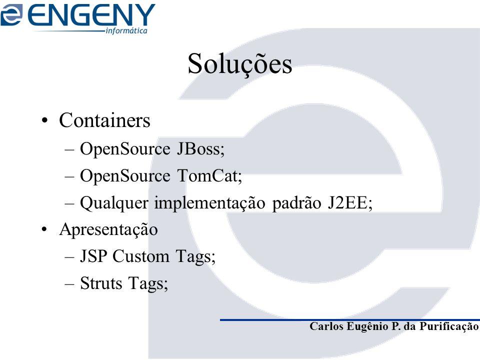 Carlos Eugênio P. da Purificação Soluções Containers –OpenSource JBoss; –OpenSource TomCat; –Qualquer implementação padrão J2EE; Apresentação –JSP Cus