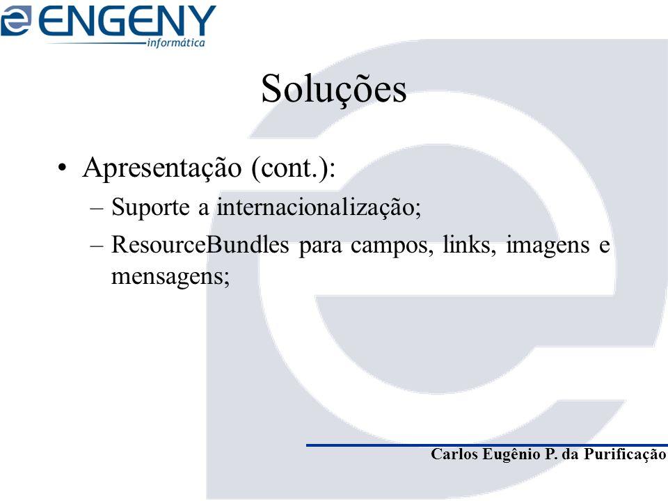 Carlos Eugênio P. da Purificação Soluções Apresentação (cont.): –Suporte a internacionalização; –ResourceBundles para campos, links, imagens e mensage
