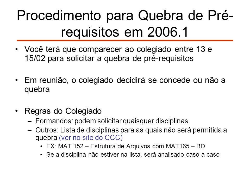 Procedimento para Quebra de Pré- requisitos em 2006.1 Você terá que comparecer ao colegiado entre 13 e 15/02 para solicitar a quebra de pré-requisitos Em reunião, o colegiado decidirá se concede ou não a quebra Regras do Colegiado –Formandos: podem solicitar quaisquer disciplinas –Outros: Lista de disciplinas para as quais não será permitida a quebra (ver no site do CCC) EX: MAT 152 – Estrutura de Arquivos com MAT165 – BD Se a disciplina não estiver na lista, será analisado caso a caso