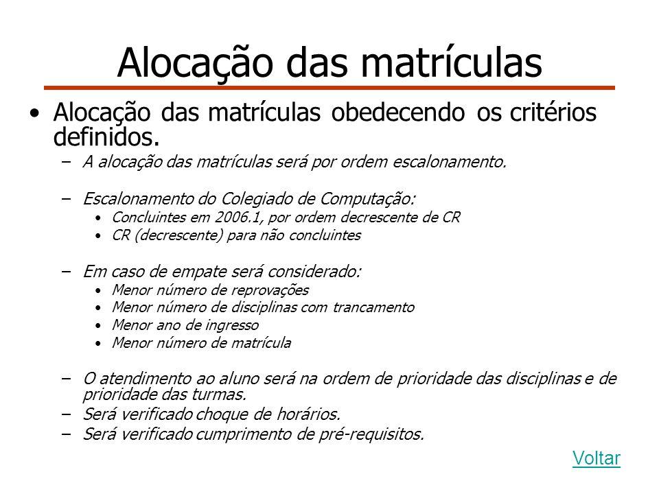 Alocação das matrículas Alocação das matrículas obedecendo os critérios definidos.