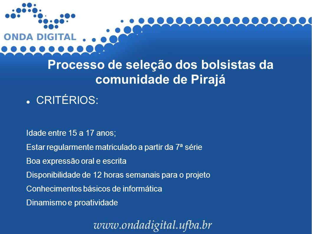 Processo de seleção dos bolsistas da comunidade de Pirajá CRITÉRIOS: Idade entre 15 a 17 anos; Estar regularmente matriculado a partir da 7ª série Boa